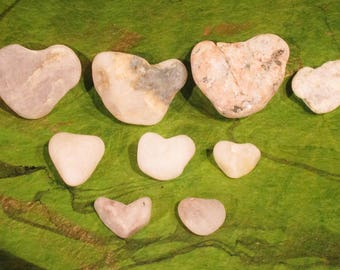 Heart Rocks, White Quartz Heart Shaped Rocks, Instant Rock Collection, Wedding Favors, Rustic Decor, Beach Decor, Nine Lucky Heart Rocks