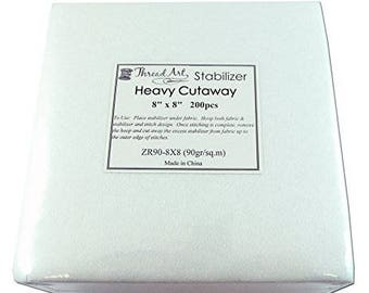 "SALE - Embroidery Stabilizer - 200 8""x8"" Pre-cut Heavy Cutaway Stabilizer (ThreadArt brand)"