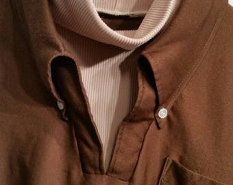 Vintage 70s mens brown polyester shirt with faux turtleneck,  42