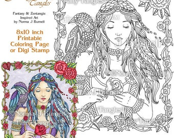 Rose - Fairy Tangles Printable Coloring Book Pages Norma J Burnell Digital Coloring Sheets for Adults Fairies Adult Goth Coloring Sheets