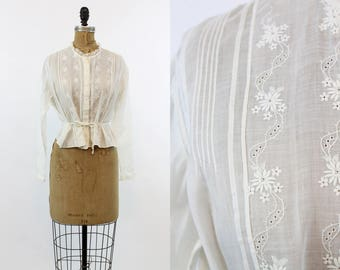 Edwardian Lace Blouse Small Medium  / 1910 Antique Embroidered Cotton Top / Bohemian Betty Blouse