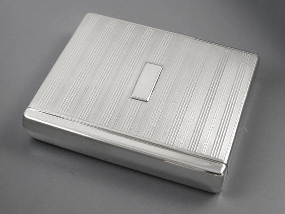 Scarce Flip Top Box vintage Art Deco 1920s signed Battin sterling silver cigarette case / smoking / tobacciana / 5.5oz / business card case