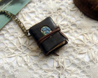 Blue Bouquet - Mini Wearable Book, Dark Brown, Recycled Leather & Linen, Tea-Stained Pages, OOAK