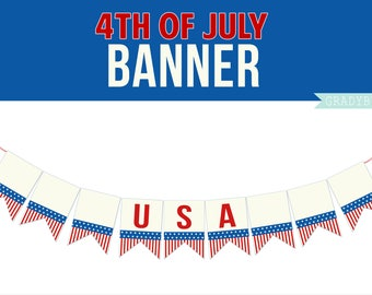 4th of July Party Banner, USA Printable, Patriotic Printable, Red White and Blue, Printable Banner, Holiday Printable, Instant Download