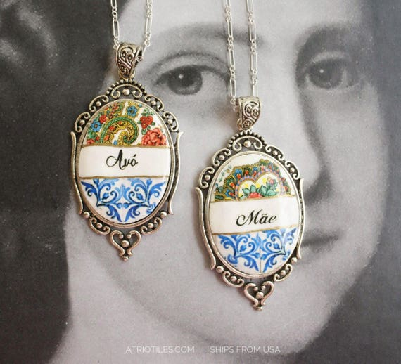 Necklace Portugal Avó Mãe Grandmother Mother  Portuguese - Antique 16th century Azulejo Tile Silver Argentium Chain - Ships from USA