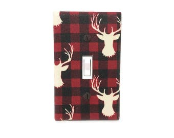 Deer Switch Plate Cover - Lumberjack Light Switch Cover - Woodland Nursery - Navy White Deer Decor - Stag Light Switch Plate - Boys Decor
