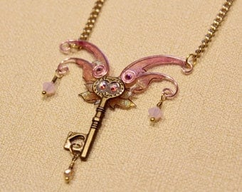 Fairy Wing Jester Vintage Key Pendant Necklace, iridescent steampunk style fairytale flying key fantasy jewelry