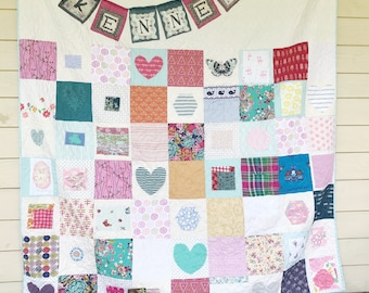 Patchwork Memory Quilt, You choose Size, Memory quilt, mourning quilt, comfort quilt, repurposed