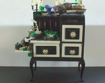 Witch Gothic Haunted Halloween stove dollhouse miniature ooak
