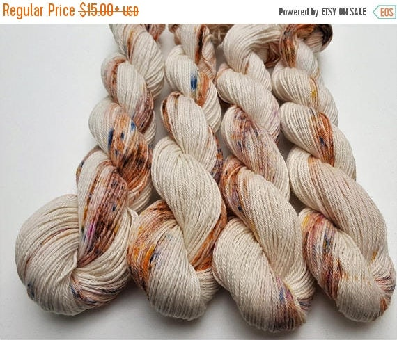 4th of July Sale Zen- 100% Cotton Yarn, Hand Dyed, Speckled, Variegated, Hand Painted Yarn
