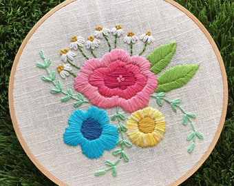 Floral hand embroidered hoop art