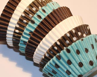 NEW - Blue & Brown Cupcake Liner Party Pak (Qty 40) Blue Cupcake Liner, Blue Baking Cup, Brown Cupcake Liner, Brown Baking Cups, Baking Cups