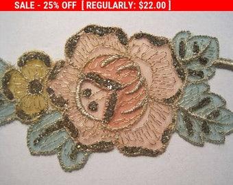 Vintage Roses Trim Metallic Organza Embroidered