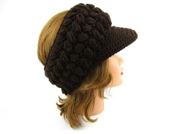 Women's Sun Visor - Crochet Headband With Brim - Brown Visor - Puff Stitch Visor Headband - Women's Accessories