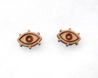 Wooden Eyeball Earrings / Eyeball Earrings / Wooden Earrings / Goth Earrings / Evil Eye Earrings / Eyeball / Wooden Eye Earrings / Wood
