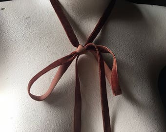 3 yds. Copper Brown Velvet Ribbon VERY Narrow for Bridal, Floral Design, Millinery, Jewelry or Costume Design VL