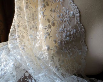 REMNANT Ivory Lace 1.5 yds. Scalloped Embroidered for Bridal, Lace Cap Veils, Christening, Dedication Gowns, Regency Gowns