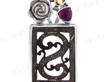 "2"" Coconut Amethyst Citrine Gems Flower 925 Sterling Silver Pendant"