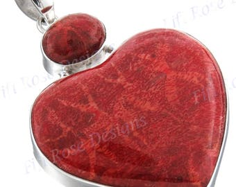 "2 1/4"" Valentine Heart Red Coral 925 Sterling Silver Pendant"