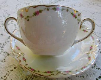 Rare Vintage Johnson Bros. Soup Cup & Saucer Pink Rose Patt. No. JB 106