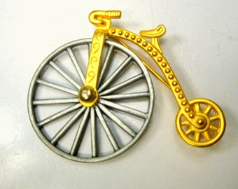 J.J. Bicycle Brooch, Victorian Large MOVING Wheel PIN, Jonette Jewelry Collectible, 1980s, Gold and Pewtertone, Unused, Signed