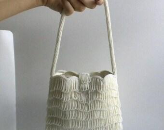 SUMMER SALE Beautiful Vintage Ivory - Off White Hand Beaded Fringe Evening Handbag - Wedding Purse