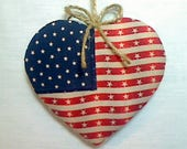 Large Americana Flag Heart Ornament | Patriotic Decor | July 4th | | Party Favors | Independence Day | Red White Blue | Tree Ornament | #6