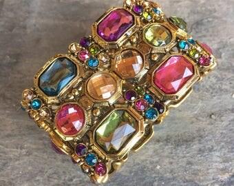 Mardi Gras Cuff Bracelet, Large Gems, Glass Stones, Circus, Gawdy Jewelry