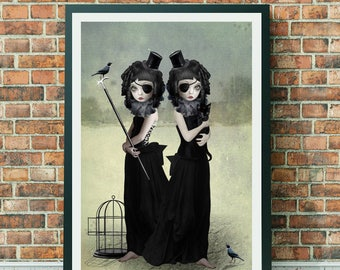 Goth Girls Art Print - A3 Art Print - Gothic Art - Large Print - Wall Decor - A Difference Of Opinion