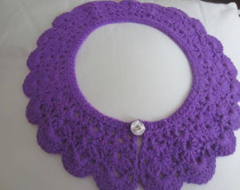 Hand Crochet Deep Purple Detachable Lace Collar With Sparkly Button