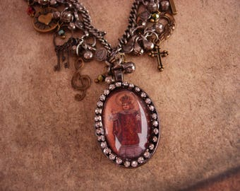 Religious charm Necklace / Infant of Prague / sacred heart / cross charms / rhinestone pendant / gypsy jewelry / assemblage necklace