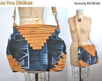 SALE Tribal Leather Brown Purse / Ethnic Southwestern bag