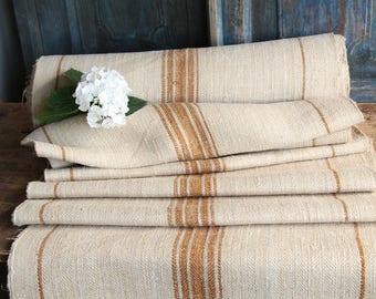R 752 antique hemp french GOLDEN CARAMELL 리넨 upholstery  10.05yards handloomed STAIRUNNER benchcushion Beachhouse look
