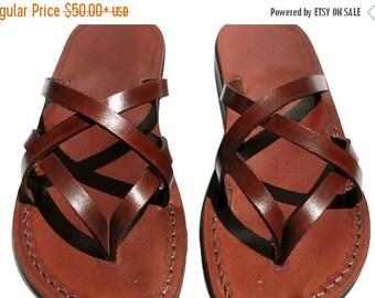 15% OFF Brown Mixin Leather Sandals For Men & Women - Handmade Unisex Sandals, Flip Flop Sandals, Jesus Sandals, Genuine Leather Sandals