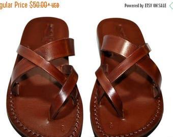 15% OFF Brown Comply Leather Sandals For Men & Women - Handmade Sandals, Flat Jesus Sandals, Leather Flip Flops, Brown Unisex Leather Sandal