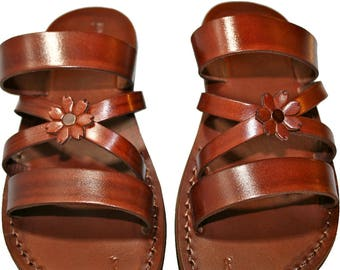 CLEARANCE SALE - Brown Bio-Pop Leather Sandals For Men & Women - Euro # 42 - Handmade Unisex Sandals, Genuine Leather Sandals, Sale