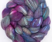 BFL, Tussah silk, Hand dyed roving, Bluefaced Leicester, silk, spinning wool, tops, fibre, handspinning, felting projects, felting material