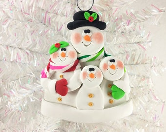 Snowman Family Christmas Ornament - Snow Family of Four - Gift for Family of Four - Family Ornament - Snowman Collector Ornament - 61321