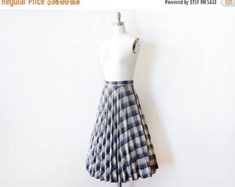 20% OFF SALE pleated plaid skirt, vintage 70s wool skirt,  blue and gray skirt, small s