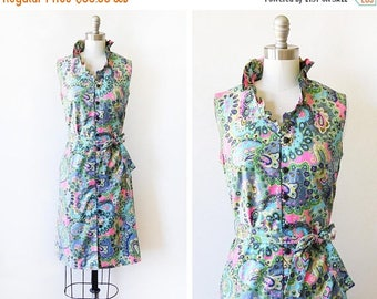 20% OFF SALE vintage 60s dress, 1960s paisley floral mod dress, blue and pink button up sheath dress, small s