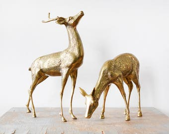 vintage brass deer figurines, large brass deers, mid century decor, christmas holiday decoration