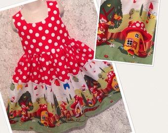 Garden Gnomes * classic jumper style dress CUSTOM SIZES child 2 3 4 5 6 7 8 10 12 14 - your choice sewnbyrachel