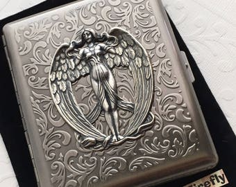 Large Size Antiqued Silver Cigarette Case Extra Big Metal Wallet Gothic Victorian Angel Steampunk Case Winged Angel Case