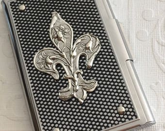 Fleur De Lis Business Card Case Silver & Black Industrial Steampunk Card Case Gothic Victorian Card Wallet Gifts For Her Him