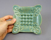 Handmade Teal Ceramic Soap Dish with Monstera Leaf Motif and Scalloped Edges, bathroom decor, handmade pottery, home accents, sponge holder
