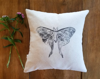 free shipping / moth pillow / vintage style / butterfly / gray / spring home decor / insect / summer /