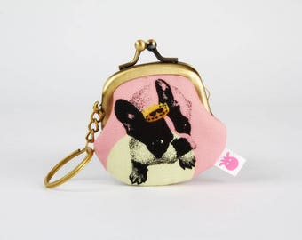 Keychain purse - French bulldog on pink - Big Lillipurse / Metal frame coin purse / Japanese fabric / dog / yellow pink black