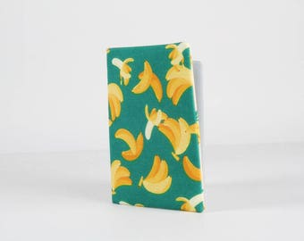 Fabric card holder - Bananas / Kawaii fabric / tropical fruits / pineapples / green yellow orange