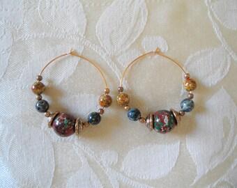 Gold Tone Hoop Beaded Earrings