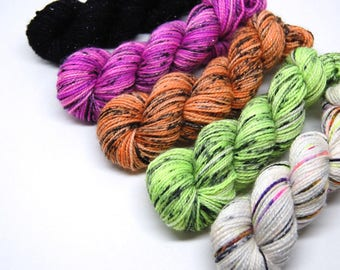 "Halloween ""Pastels"" Glam Rock Sparkle Sock Yarn - Mini Skein Yarn Kit - 438 Yards - Superwash Merino Nylon"